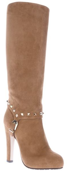 Valentino Buckle Detail Boot in Beige (brown)