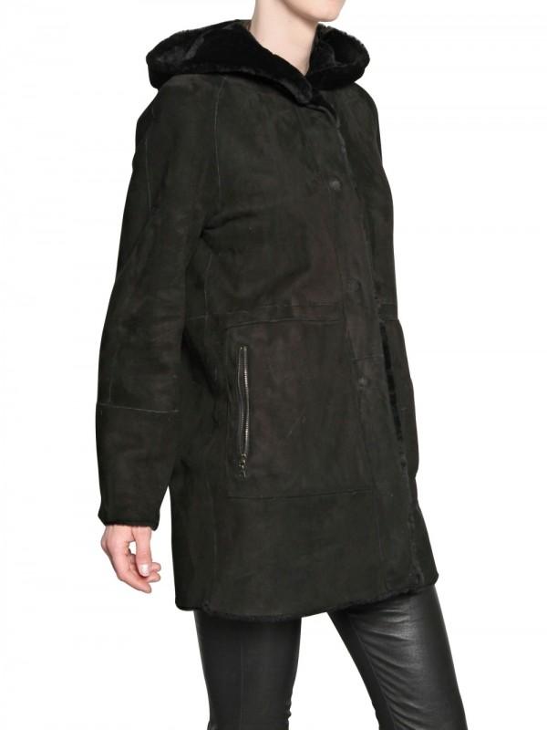 Drome Reversible Shearling Fur Coat in Black | Lyst