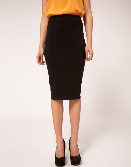 Asos Pencil Skirt in Jersey in Black