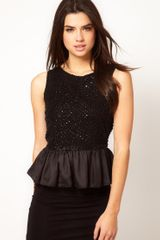ASOS Collection Asos Peplum Top with Embellishment