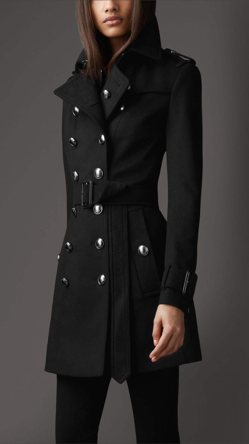 Burberry Mid Length Wool Cashmere Trench Coat in Black | Lyst