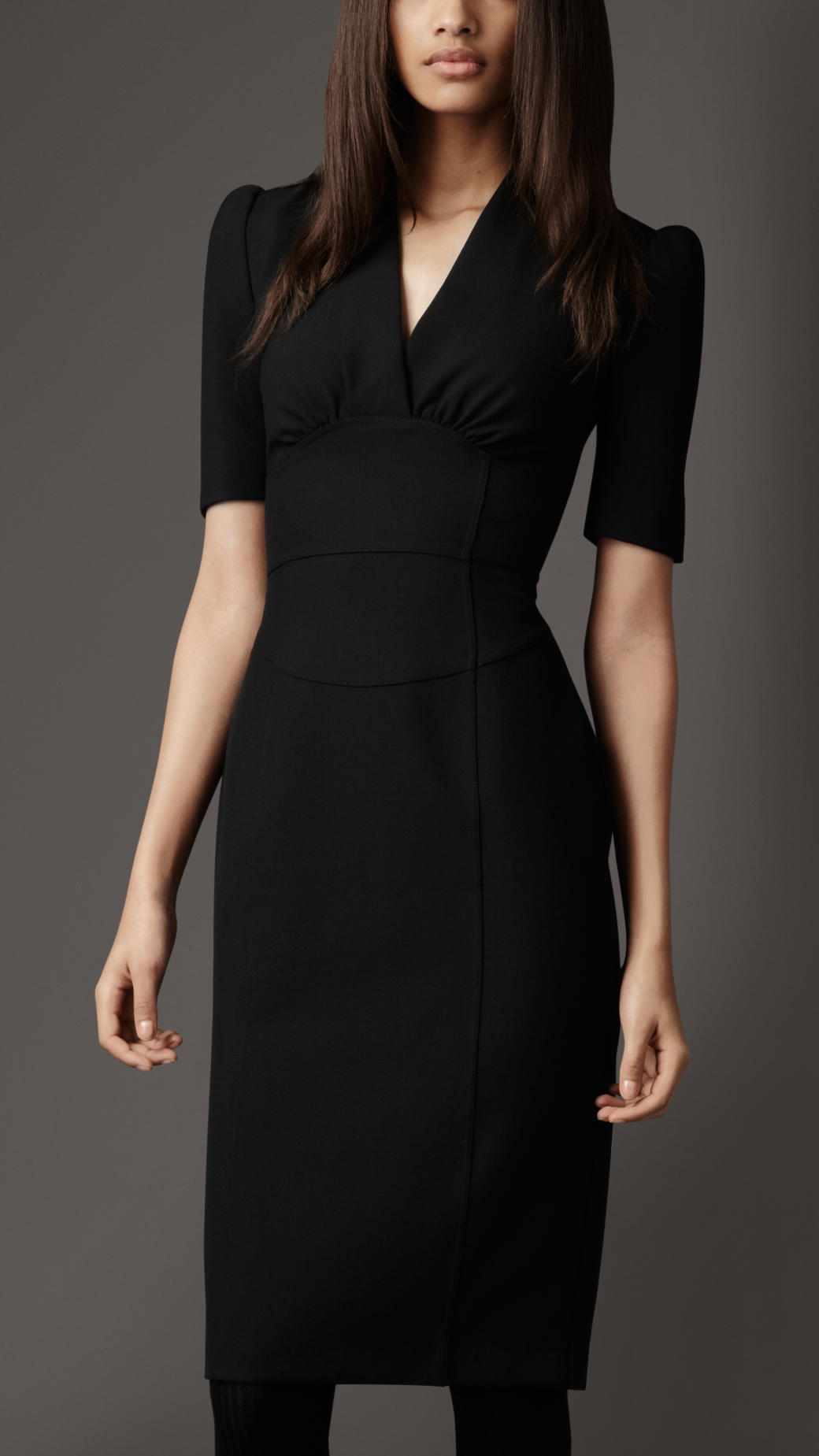 Lyst Burberry Structured Pencil Dress In Black
