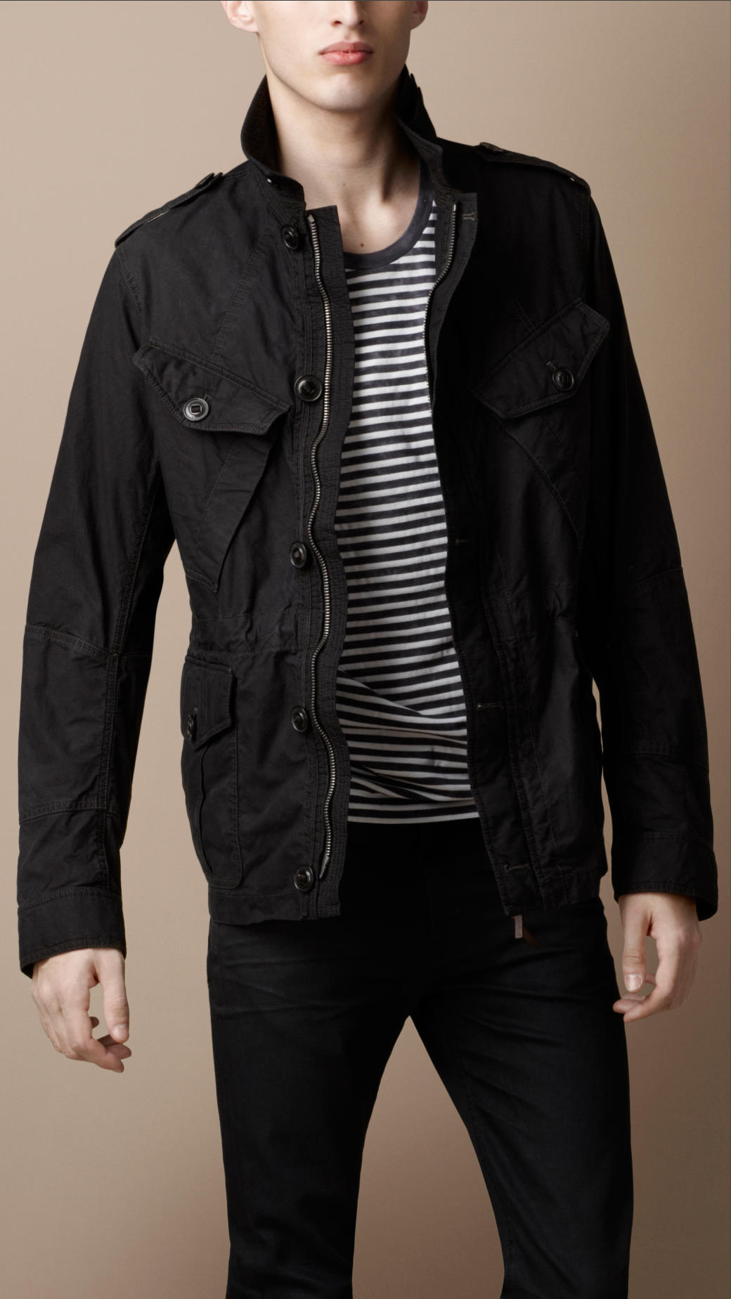 Lyst Burberry Brit Heritage Cotton Field Jacket In Black