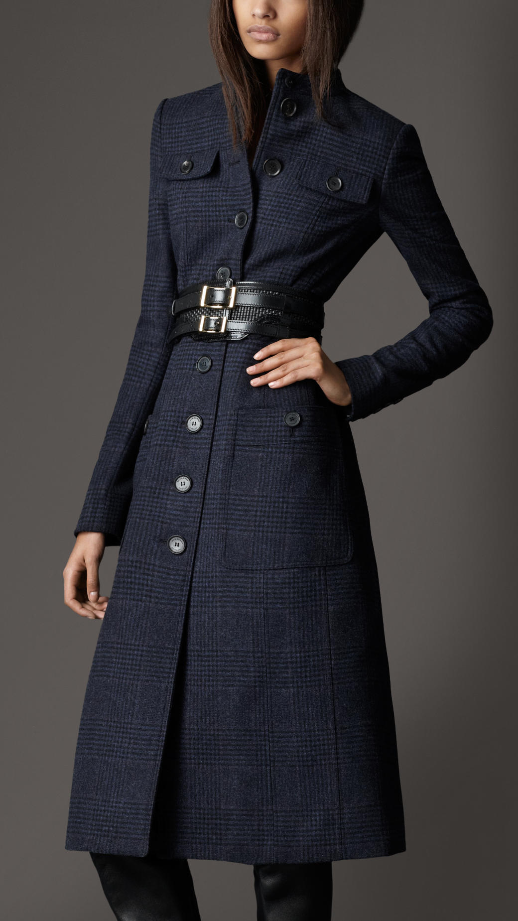 burberry bow detail wool coat in blue lyst