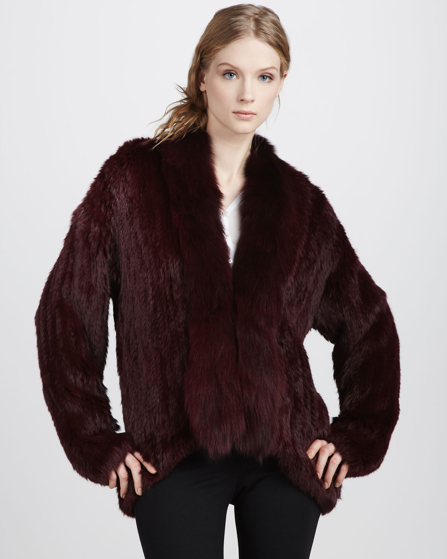 elizabeth and james bianca fur jacket in red merlot lyst. Black Bedroom Furniture Sets. Home Design Ideas