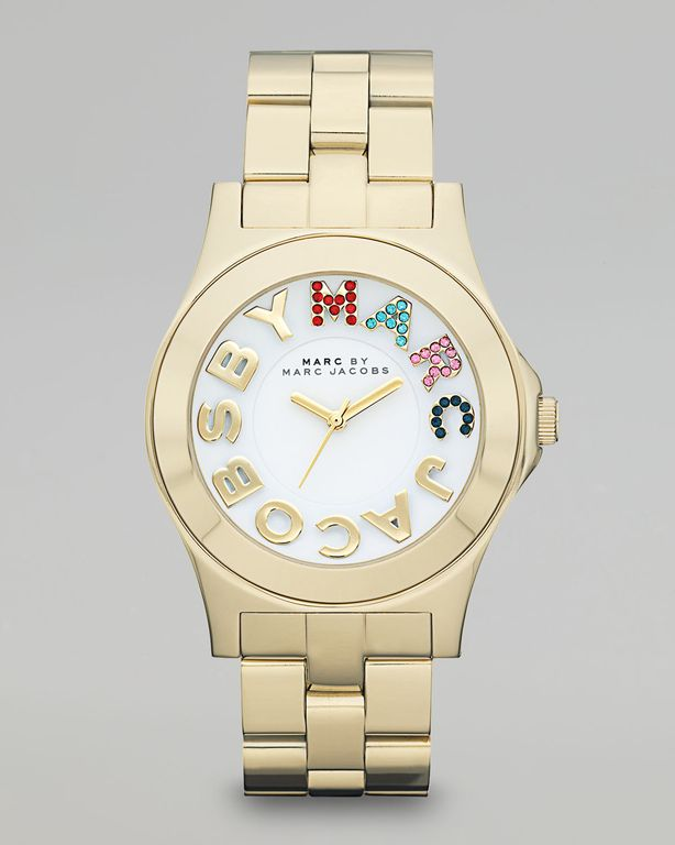 Marc By Marc Jacobs Pave Marc Rivera Watch in Gold