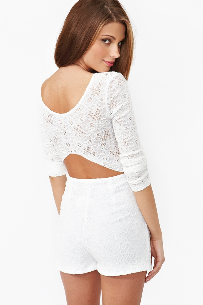 Lyst Nasty Gal Rose Lace Romper In White