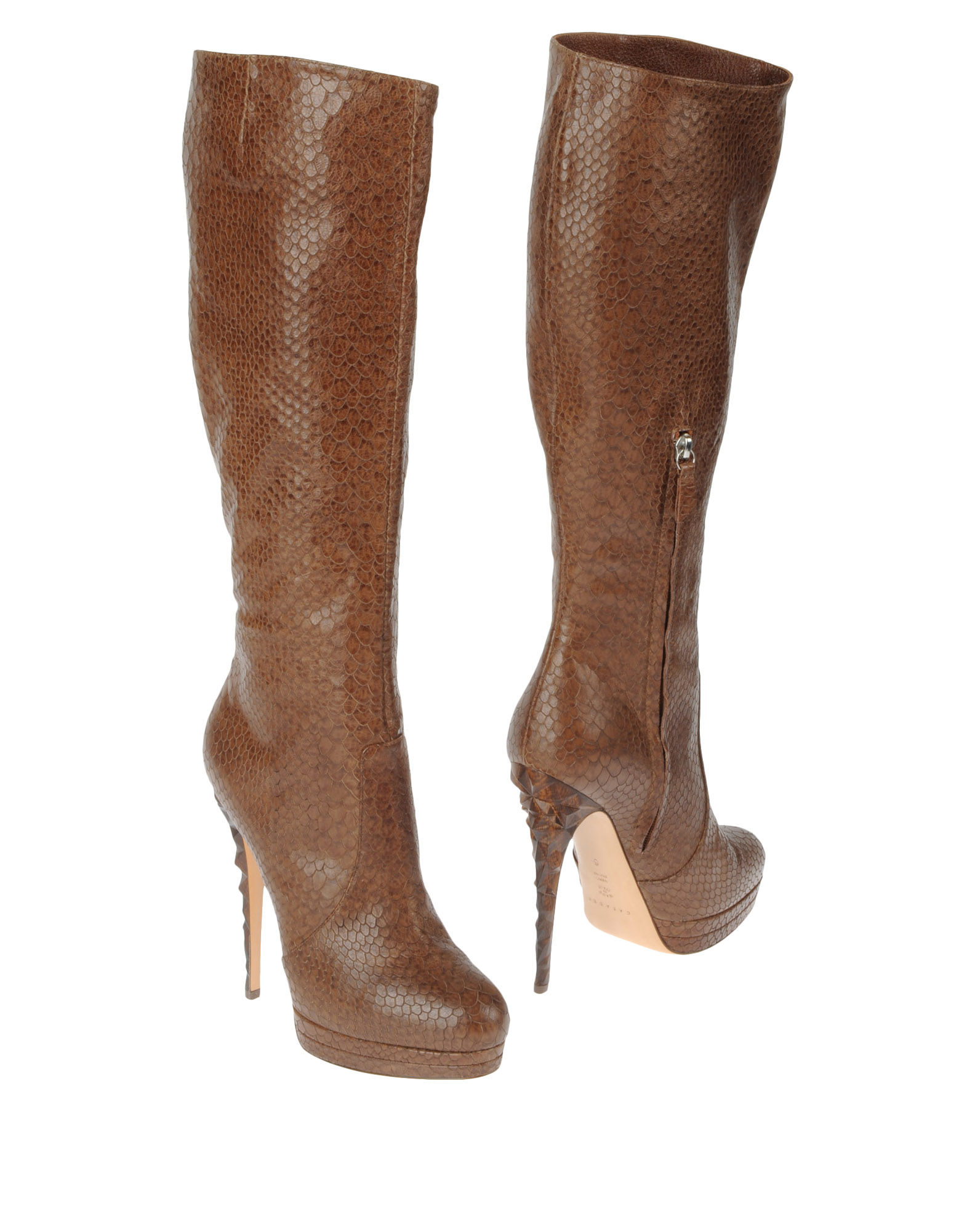 casadei high heeled boots in brown lyst