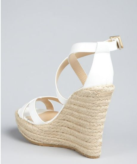 Jimmy Choo White Patent Leather Porto Espadrille Wedges In