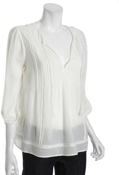 White Cotton Peasant Blouse 2