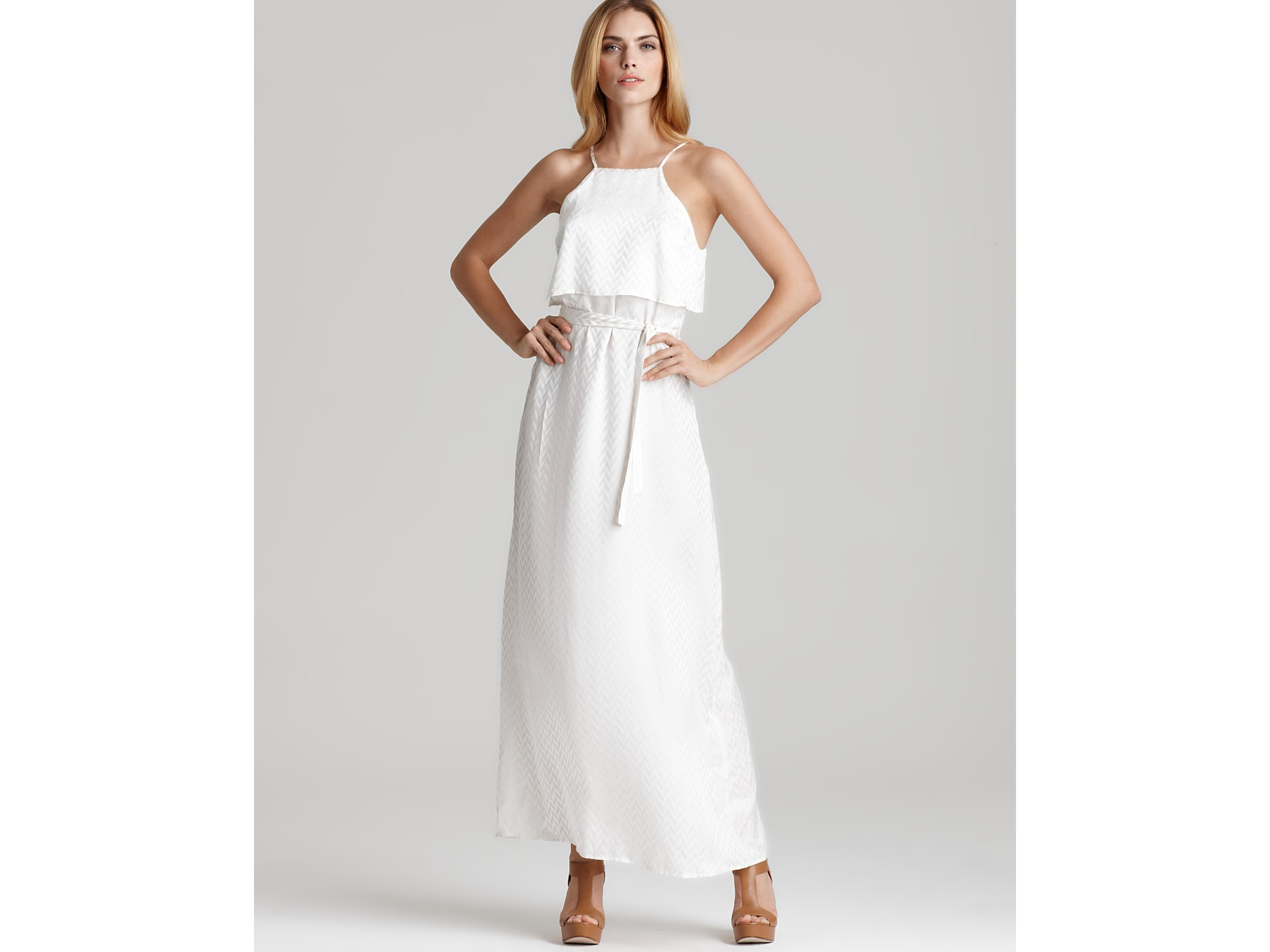 dress belted maxi in white lyst