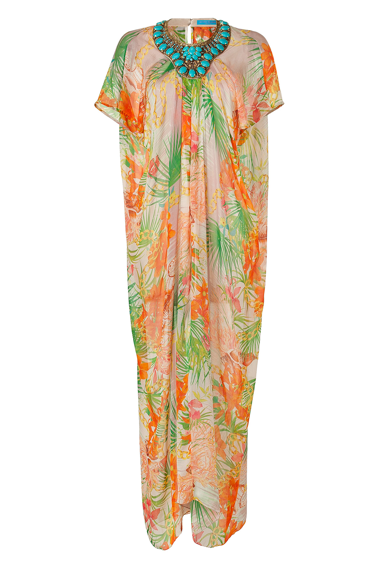 bf8ce03c66 Lyst - Matthew Williamson Escape Orange Tropical Print Silk Kaftan ...