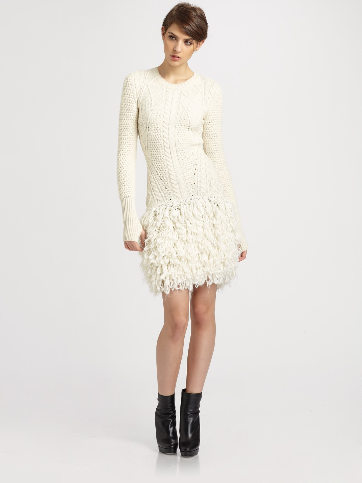 6bf197bfc37 McQ Cable Loop Knit Wool Sweater Dress in White - Lyst
