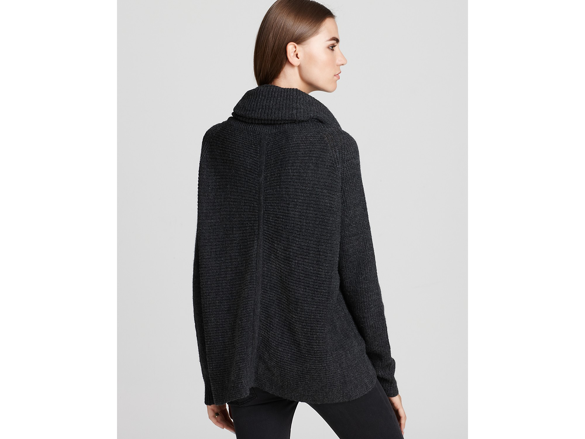 Vince Sweater Horizontal Rib Cowl Neck in Black | Lyst