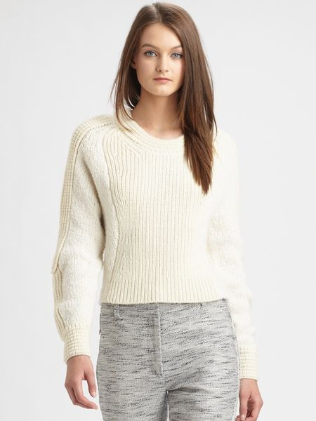 3.1 Phillip Lim Cropped Woolblend Sweater in White (ecru)