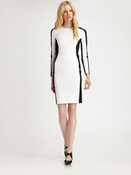 3.1 Phillip Lim Lightweight Long Sleeved Shadow Dress in Black (white)