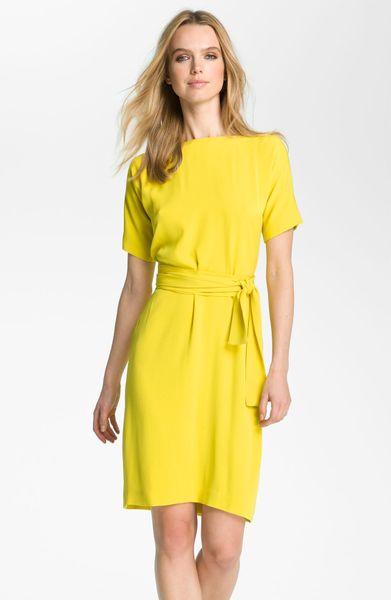 Diane Von Furstenberg Shannon Silk Wrap Dress in Yellow (acid lemon)