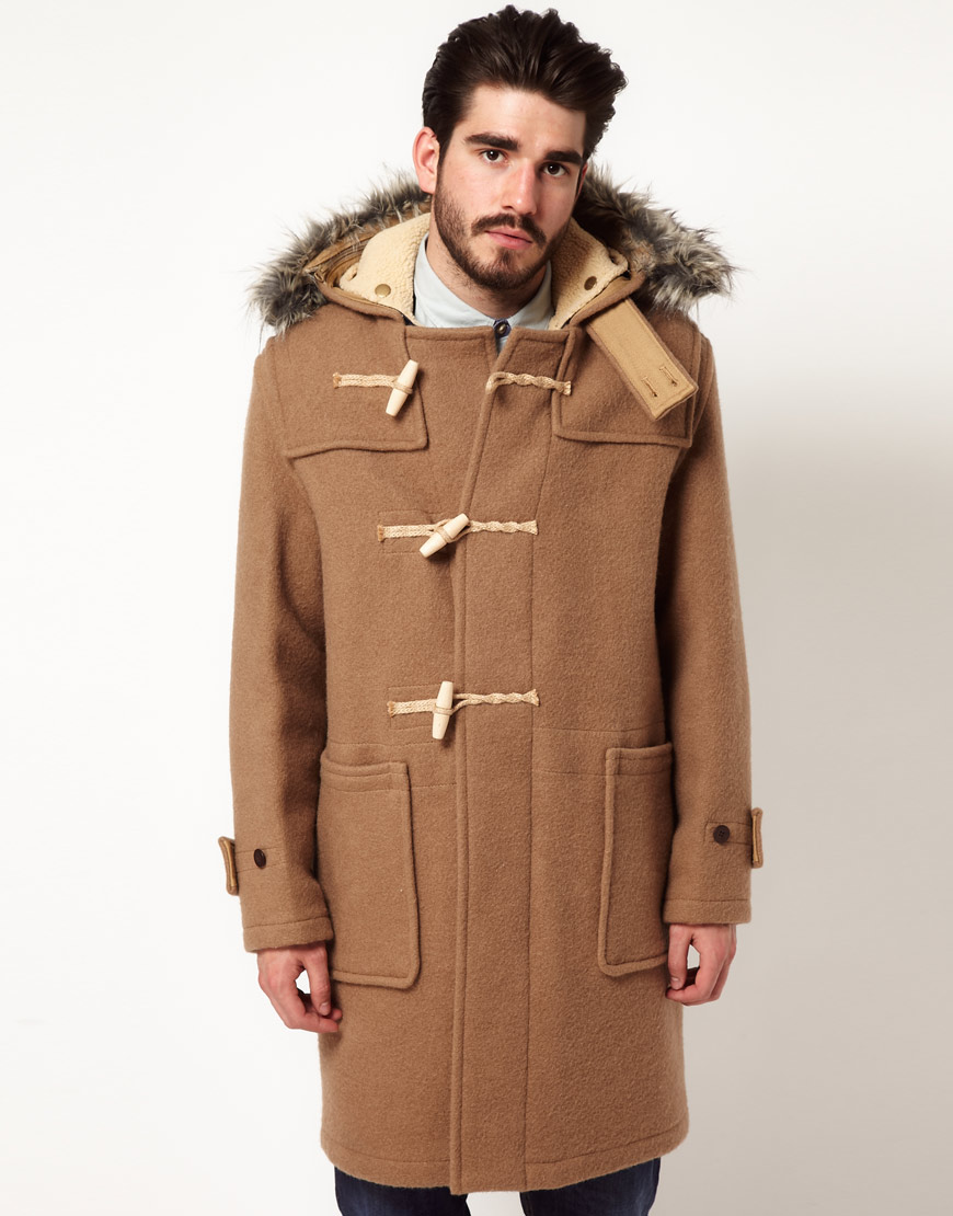 Gloverall Duffle Coat with Faux Fur Trim in Natural for Men | Lyst