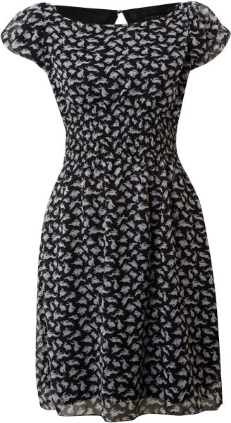 Pussycat Pussycat Rabbit Print Dress in Black