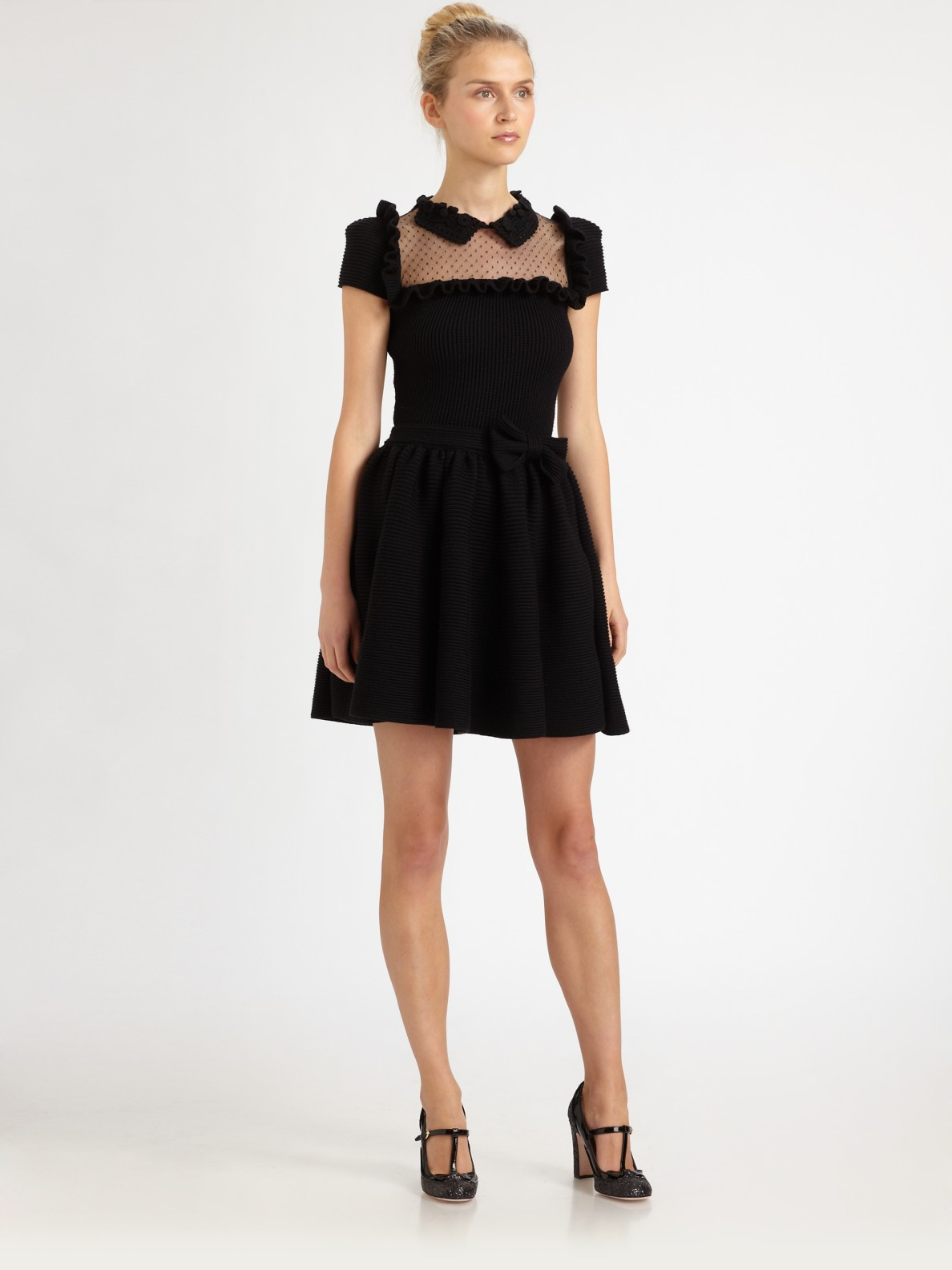 lyst red valentino merinowool bow dress in black