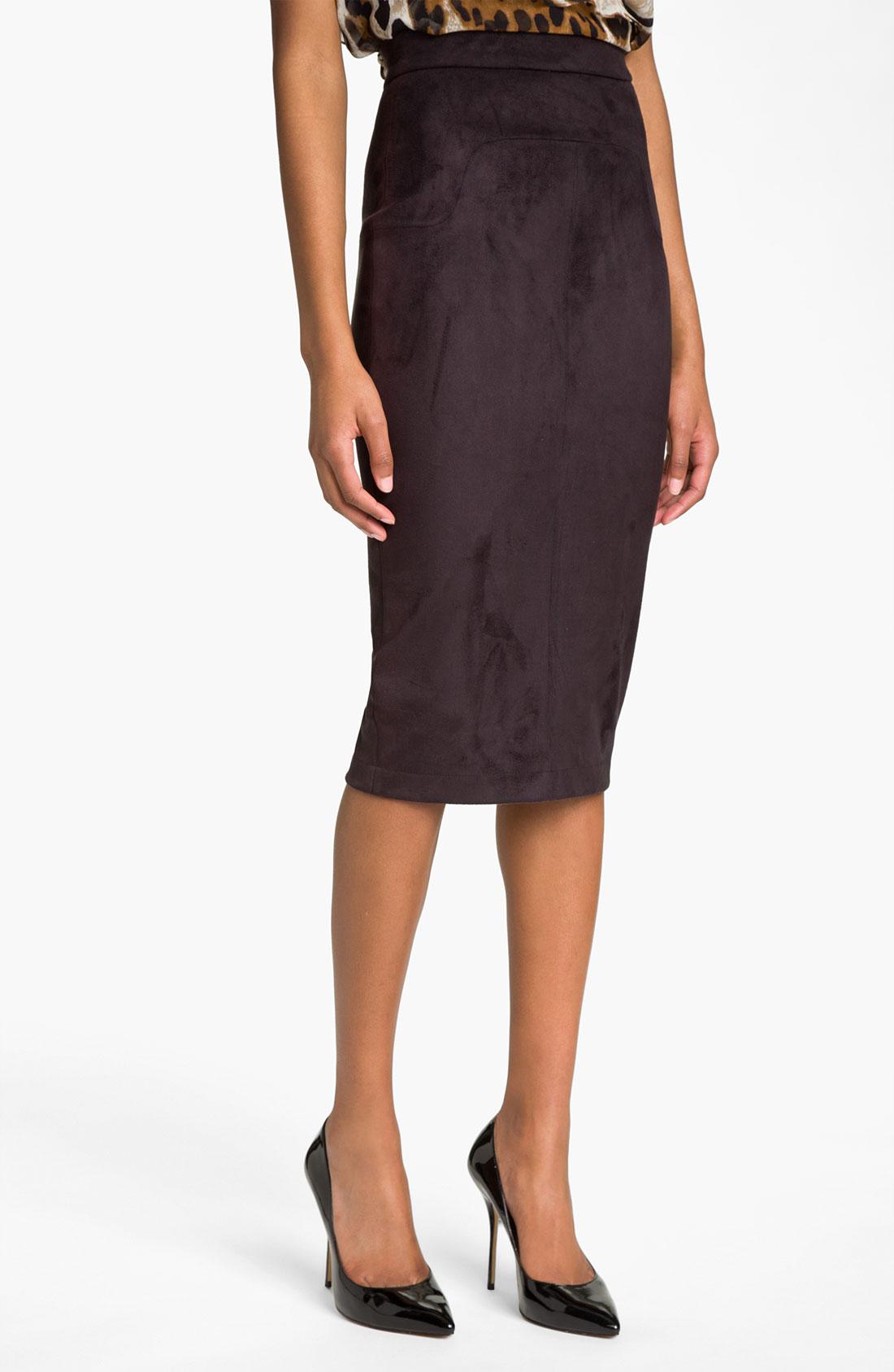robert rodriguez high waist pencil skirt in gray black