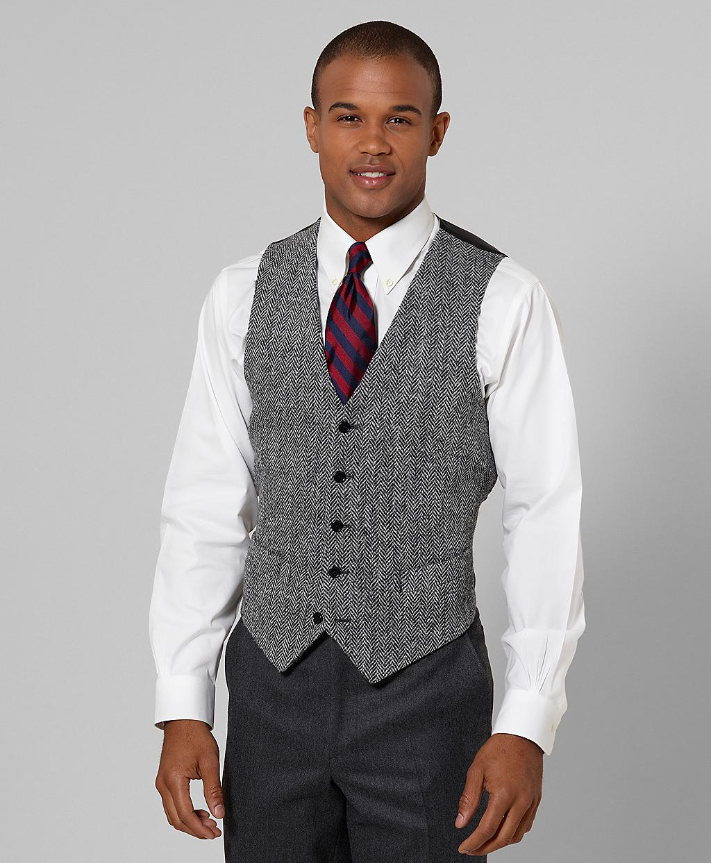 Brooks Brothers Harris Tweed Lambswool Vest In Gray For