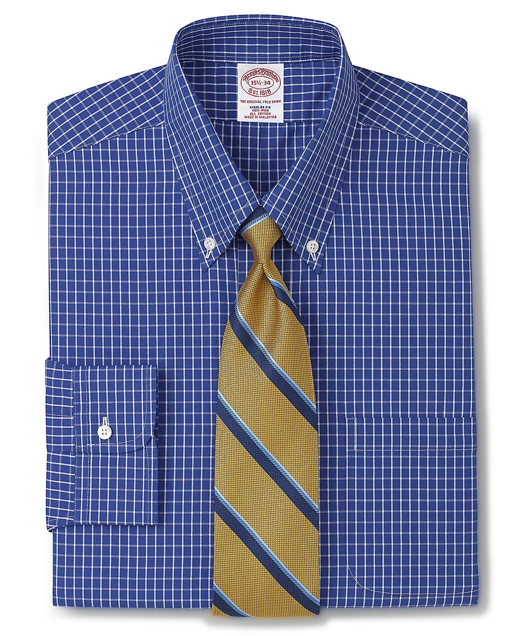 Brooks brothers allcotton noniron regular fit windowpane for Brooks brothers dress shirt fit guide