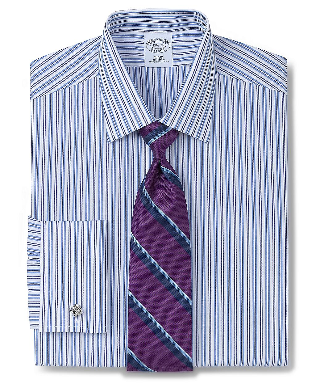 Brooks Brothers Allcotton Noniron Slim Fit Alternating