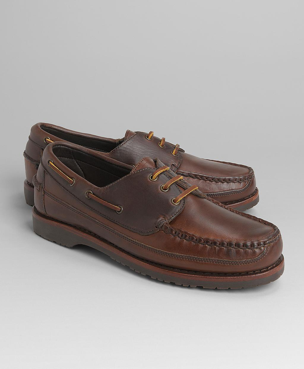 Lyst Brooks Brothers Mini Lug Sole Boat Shoes In Brown