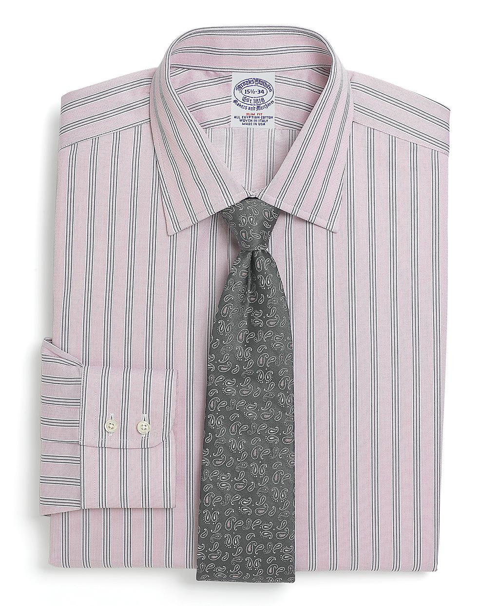Brooks brothers allcotton slim fit sidewheeler stripe for Brooks brothers dress shirt fit guide