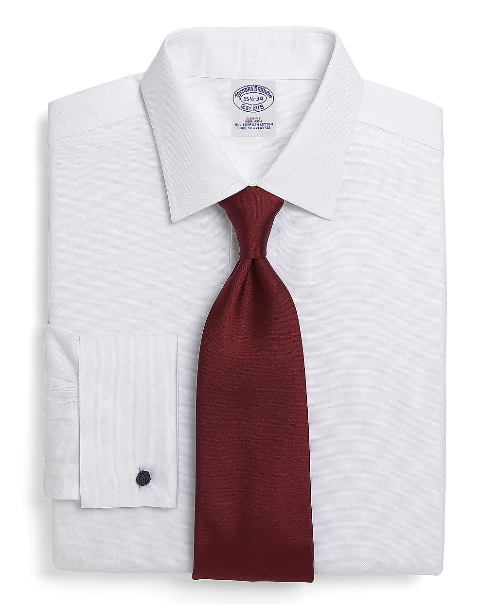 Brooks brothers noniron slim fit royal oxford french cuff White french cuff shirt slim fit