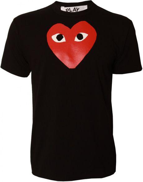 Play Comme Des Gar Ons Play Mens Heart Logo T Shirt Black