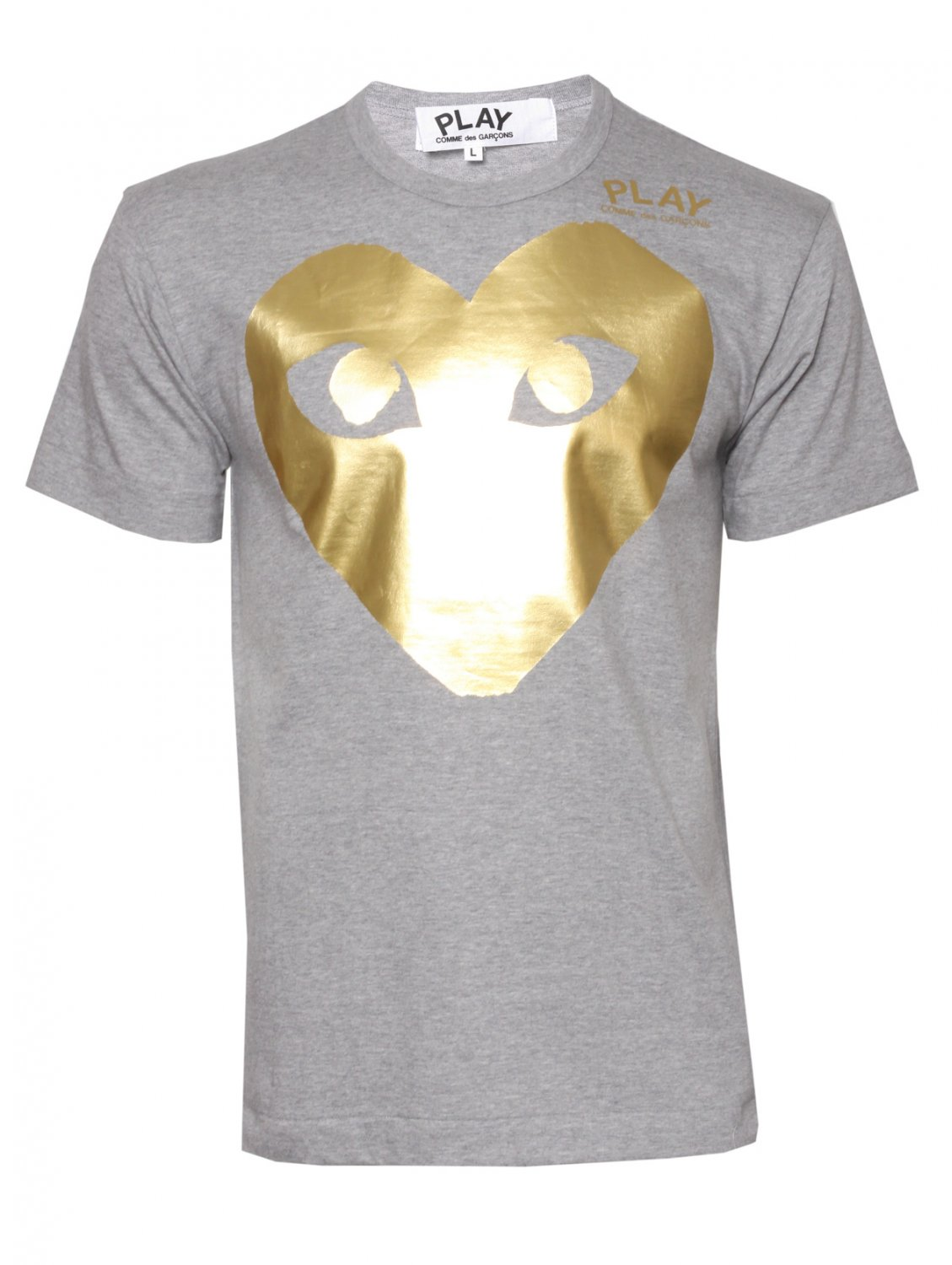 comme des gar ons play mens large gold heart t shirt grey. Black Bedroom Furniture Sets. Home Design Ideas