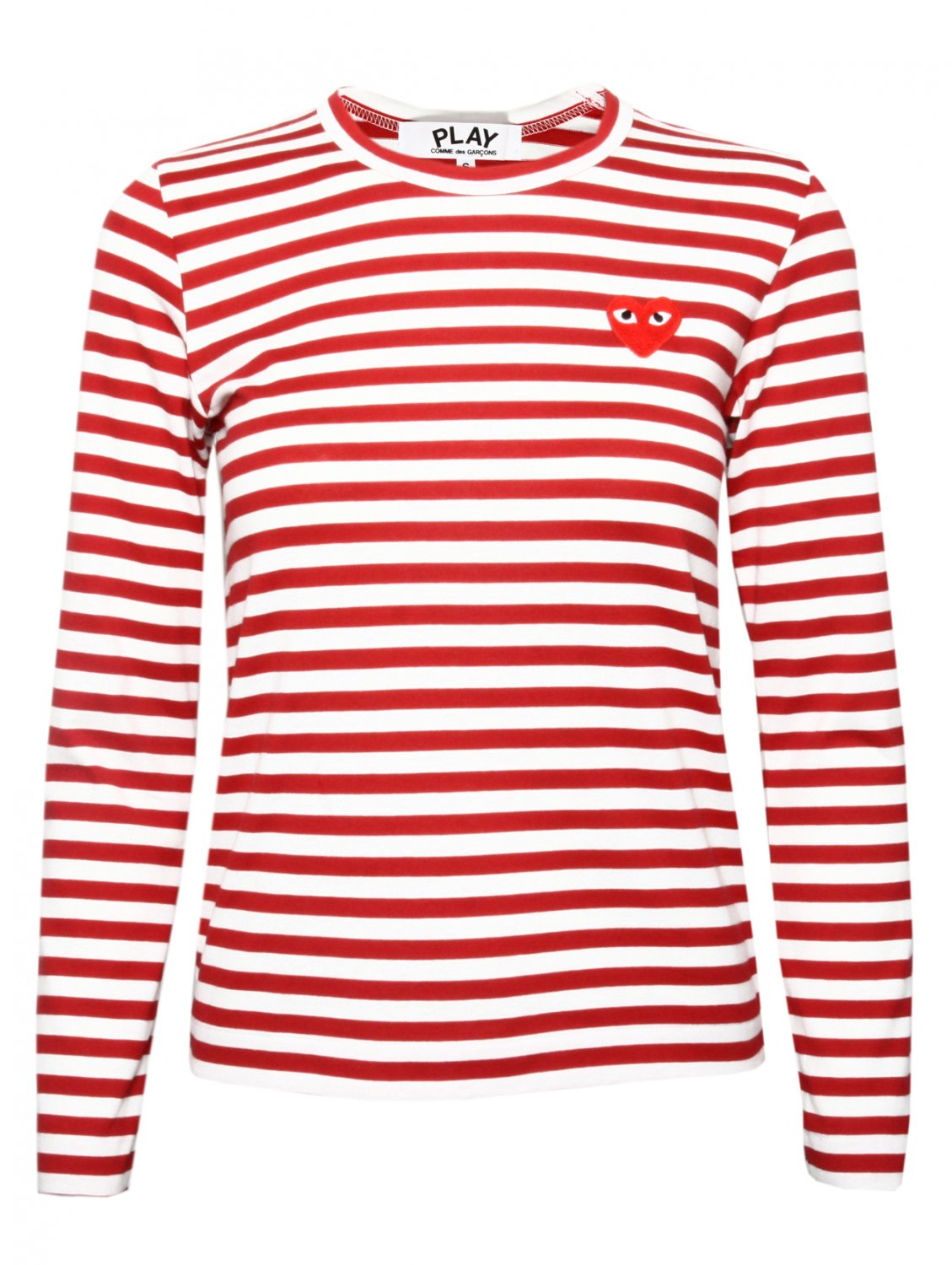 comme des gar ons play womens red heart stripe t shirt red. Black Bedroom Furniture Sets. Home Design Ideas