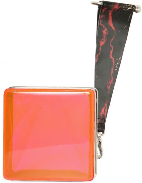 Kenzo Hard Plexiglass Clutch in Orange