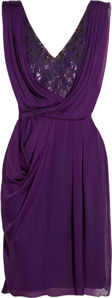 Matthew Williamson Embellished Lace and Draped Silk Chiffon Dress in Purple