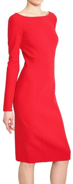 Michael Kors Double Faced Stretch Wool Crepe Dress in Red
