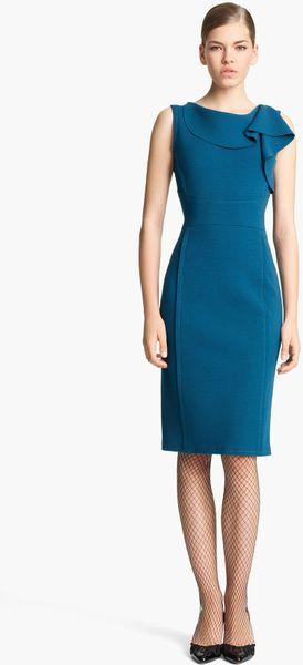 Oscar De La Renta Ruffle Neck Stretch Wool Dress in Blue (nile)