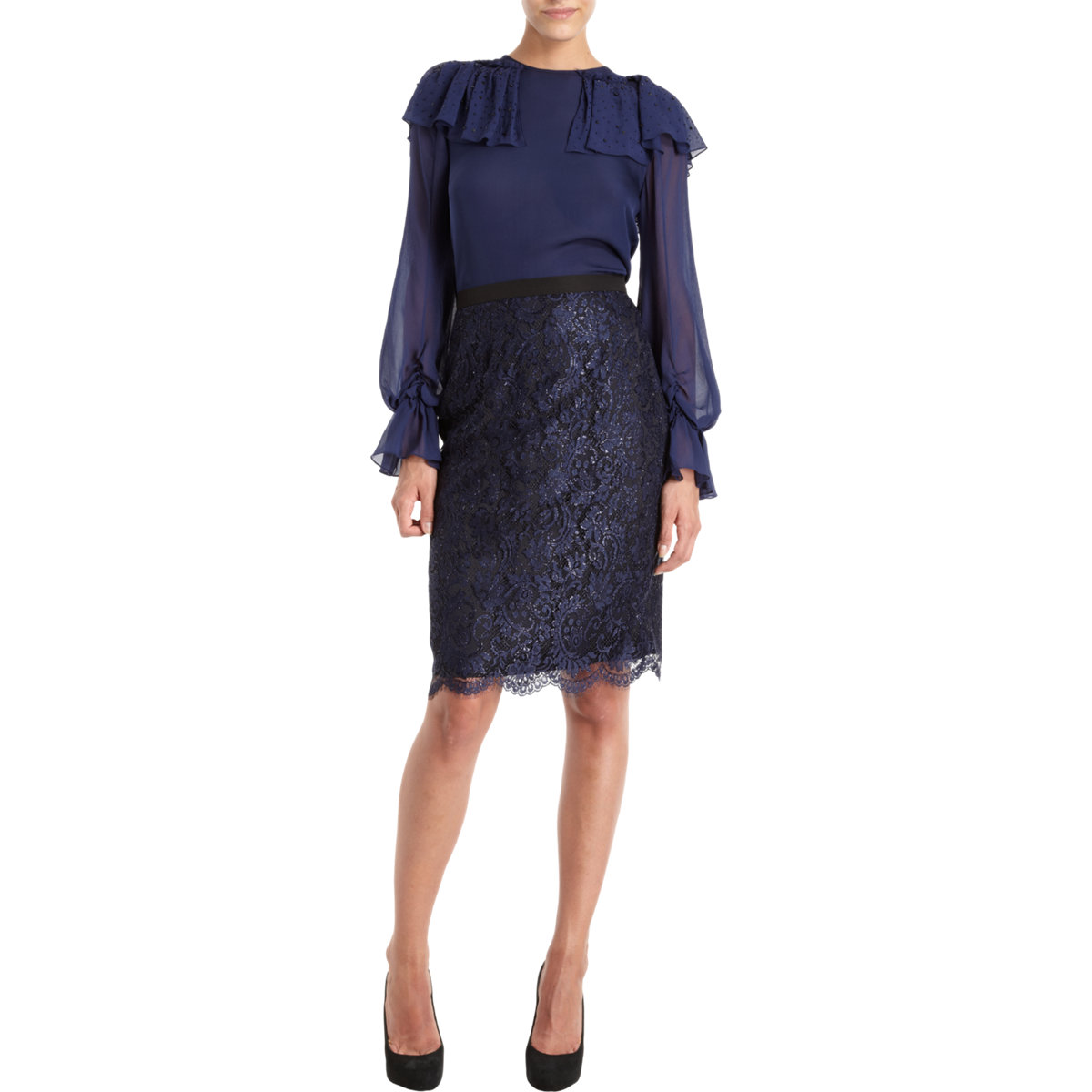 prabal gurung lace pencil skirt in blue navy lyst