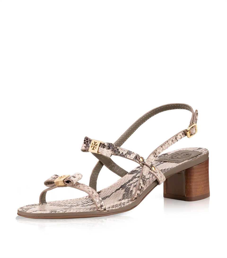 Lyst Tory Burch Kailey Python Print Mid Heel Sandal In Red