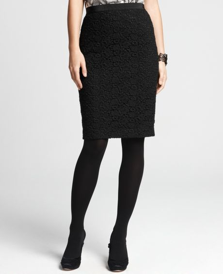 freya lace pencil skirt in black lyst