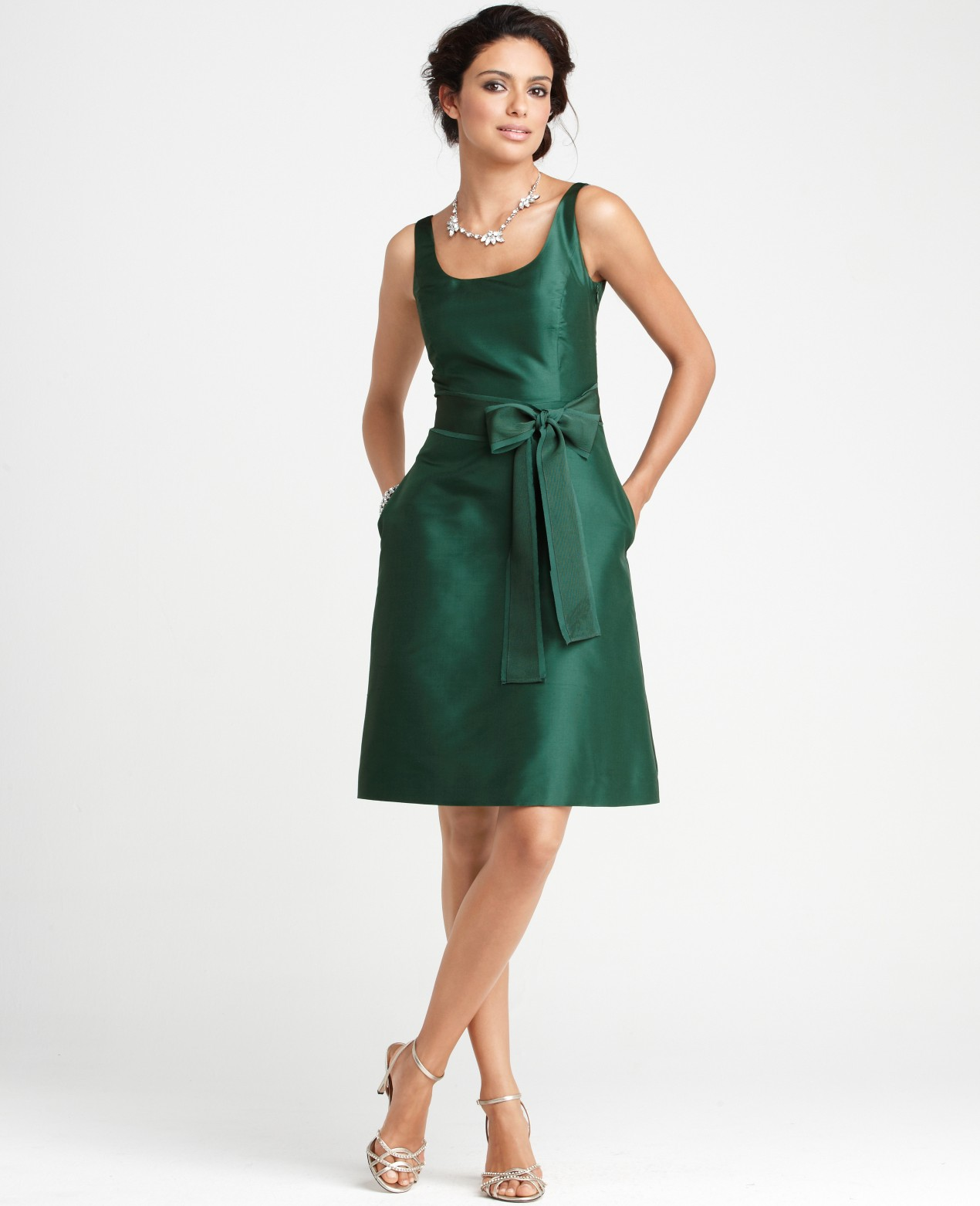 f31f5b28c9 Ann Taylor Silk Dupioni Scoop Neck Bridesmaid Dress in Green - Lyst