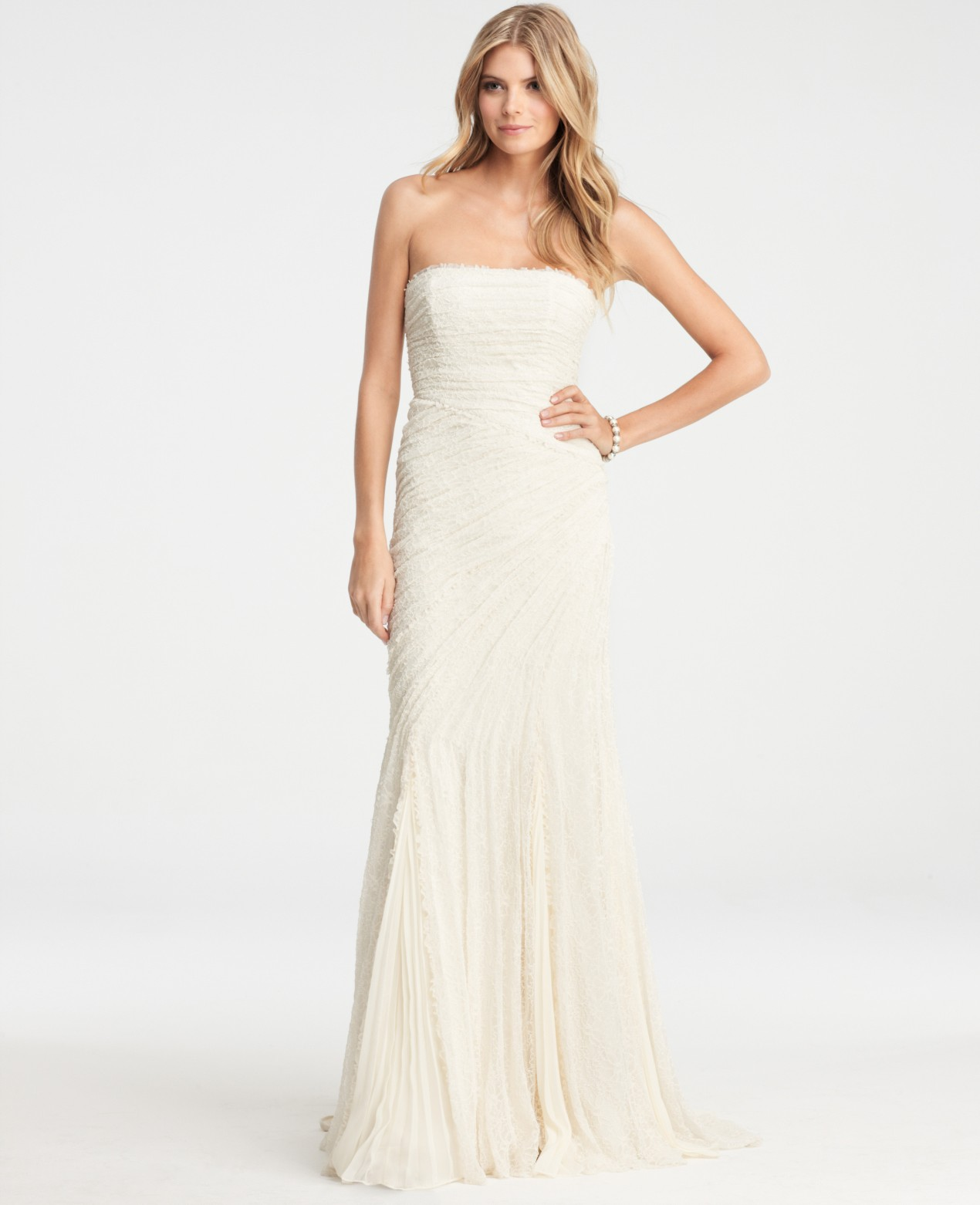 Lyst Ann Taylor Petite Jasmine Lace Wedding Dress In Natural