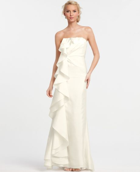 Ann taylor silk dupioni cascade ruffle wedding dress in for Cascading ruffles wedding dress