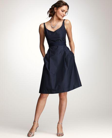 Ann taylor silk taffeta vneck bridesmaid dress in blue for Taffeta wedding dress with pockets