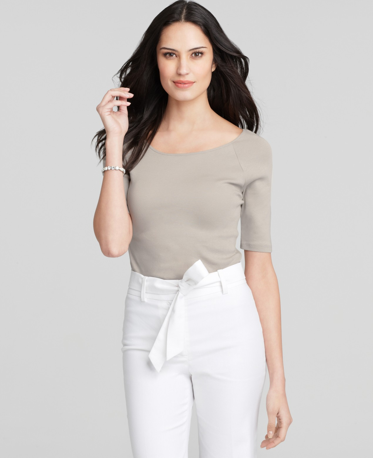 Ann Taylor Ballet Neck Short Sleeve Tee In Natural Lyst