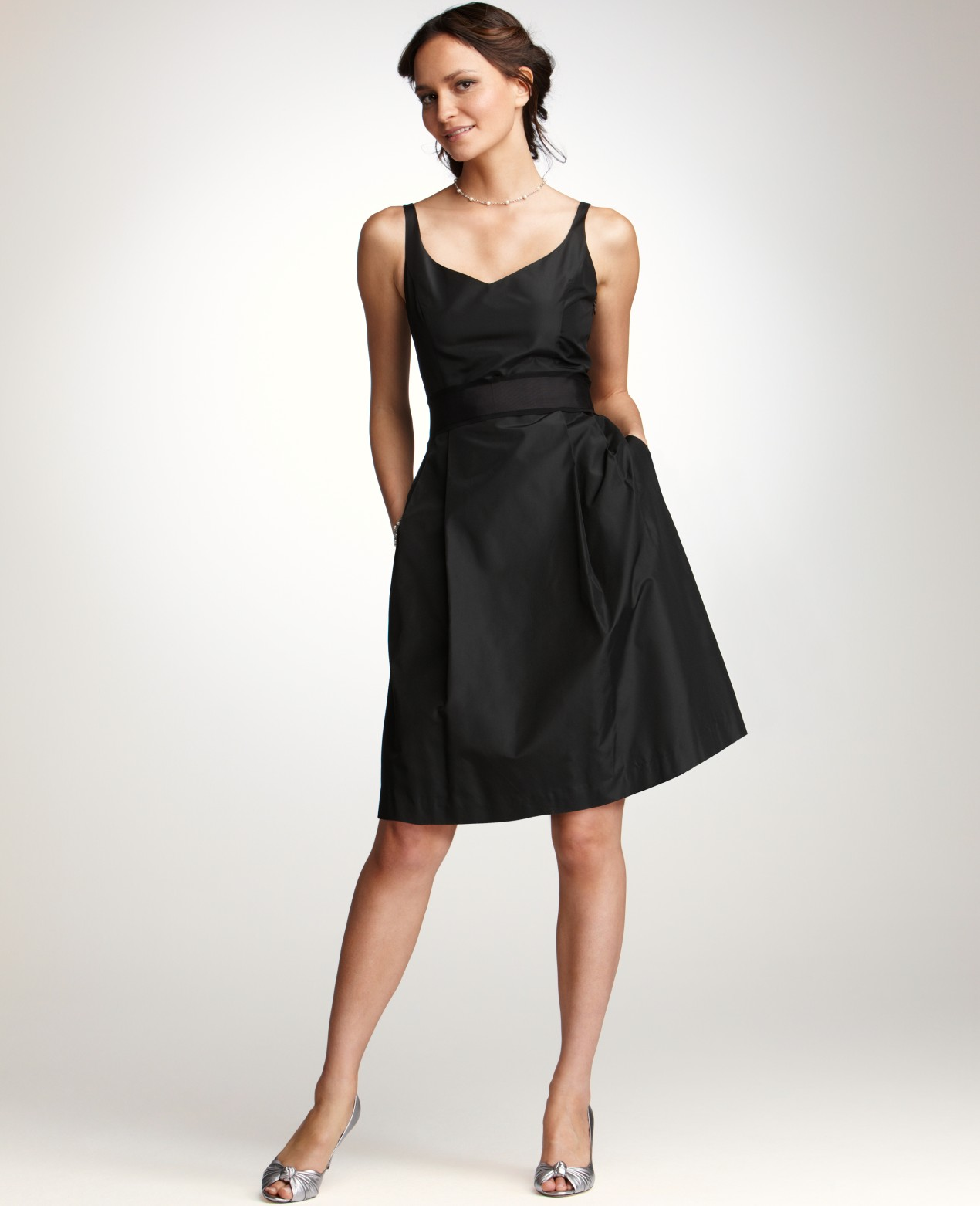 Adrienne Dress In Silk Taffeta: Ann Taylor Silk Taffeta Vneck Bridesmaid Dress In Black