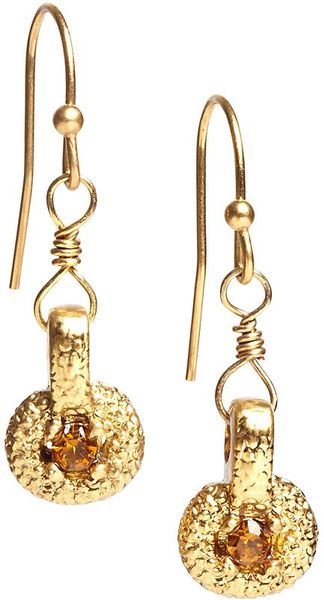 Brooks Brothers Crystal Accented Gold Disc Drop Earrings