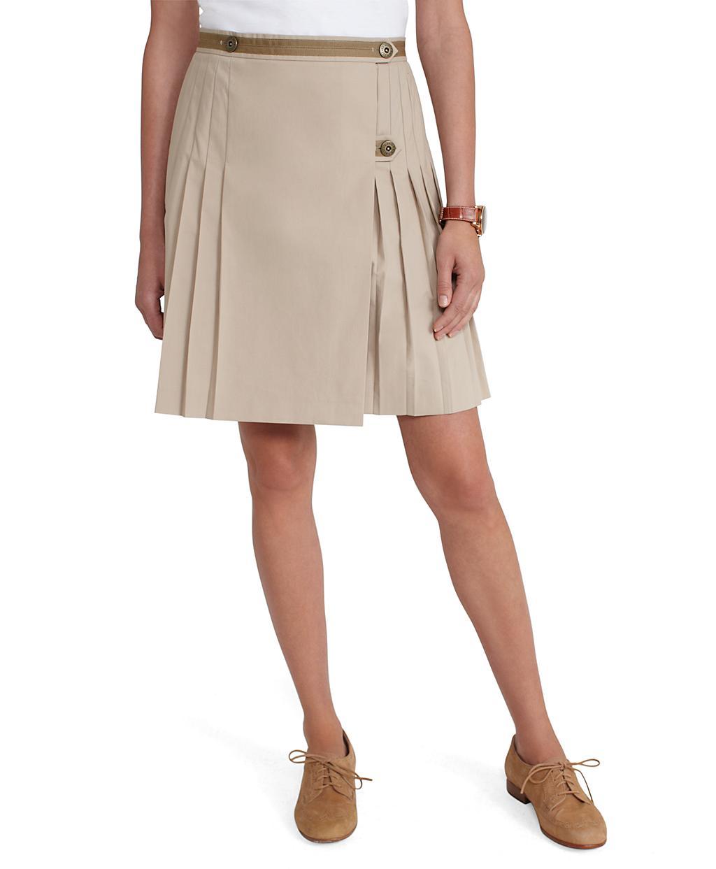 brothers cotton poplin pleated skirt in khaki lyst