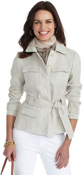 Brooks Brothers Petite Linen Jacket In Khaki Lyst
